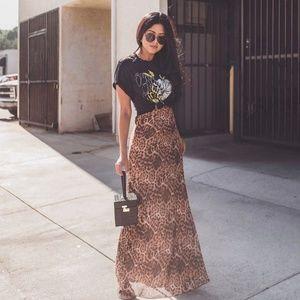 Vetiver Leopard Cowl Slip Maxi Dress